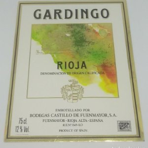 Gardingo. Rioja. Bodegas Castillo de Fuenmayor. Rioja Alta. Etiqueta impecable 13x10cm