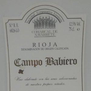Campo Babiero. Rioja. Navarrete. Rioja Alta. Etiqueta impecable 13x9,5cm