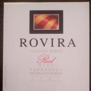 Rovira 1987 Catalonia reserve. Red wine. Tarragona. Etiqueta impecable 12,5x9,2cm