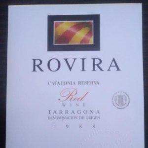 Rovira 1988 Catalonia reserve. Red wine. Tarragona. Etiqueta impecable 12,5x9,2cm