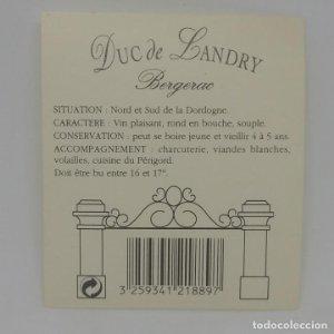 Duc de Landry. Bergerac. Etiqueta impecable 8x7cm
