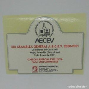 XIII Asamblea general AECEV 2000 - 2001 Cavas Hill.. Etiqueta impecable 10,5x8cm