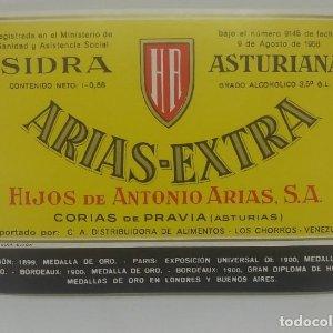 Arias Extra Sidra Asturiana. Hijos de Antonio Arias. Corias de Pravia. Etiqueta impecable 12,5x8,5cm