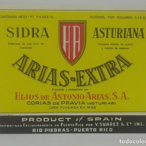 Arias Extra Sidra Asturiana. Hijos de Antonio Arias. Corias de Pravia. Etiqueta impecable 12,5x9,8cm