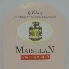 Etiquetas antiguas: MAISULAN. VINO ROSADO. RIOJA. ELVILLAR. RIOJA ALAVESA. ETIQUETA 12,5X8.6CM. Lote 162934838