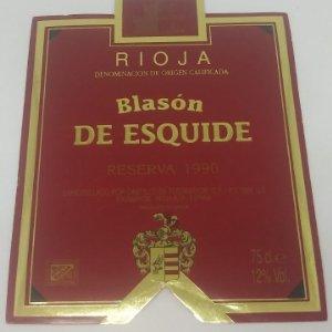 Blasón de Esquide. Reserva 1990. Castillo de Fuenmayor. Rioja Alta.. Etiqueta 13x10cm