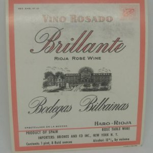 Brillante. Rioja Resé Wine. Bodegas Bilbainas. Haro. Rioja. Importada Nueva York. Etiqueta 12x10,4cm