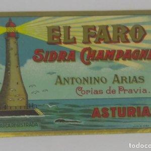 El Faro Sidra Champagne. Antonio Arias. Corias de Pravia. Asturias. Etiqueta 11,2x7,5cm