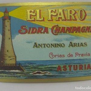 El Faro Sidra Champagne. Antonio Arias. Corias de Pravia. Asturias. Etiqueta 12,6x8,5cm Buen estado