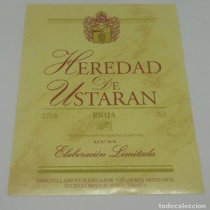 Heredad de Ustaran. Rioja, Viñadores artesanos. Elciego. Rioja Alavesa. Etiqueta 12x9,7cm