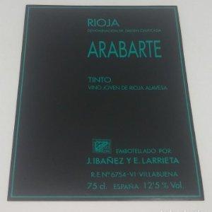 Arabarte. Rioja tinto. Vino joven de Rioja Alavesa. J.Ibañez y E.Larrieta. Etiqueta 13x10cm