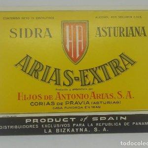 Arias Extra Sidra Asturiana. Hijos de Antonio Arias. Corias de Pravia. Etiqueta 12,6x9,8cm