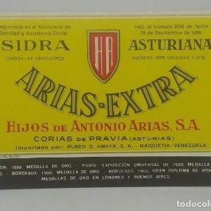 Arias Extra Sidra Asturiana. Hijos de Antonio Arias. Corias de Pravia. Etiqueta 12,5x8,8cm