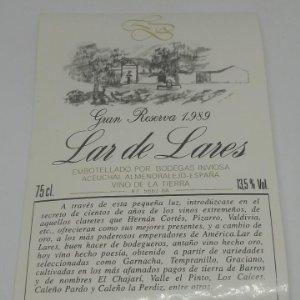 Lar de Lares. Gran reserva 1989 Bodegas Inviosa. Aceuchal. Almendralejo 161/52.000 botellas 14x9,3cm