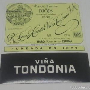 Viña Tondonia. R. Lopez de Heredia S.A Haro. Rioja. Etiqueta 11,8x11cm