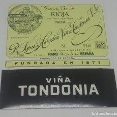 Etiquetas antiguas: VIÑA TONDONIA. R. LOPEZ DE HEREDIA S.A HARO. RIOJA. ETIQUETA 11,8X11CM. Lote 162948706