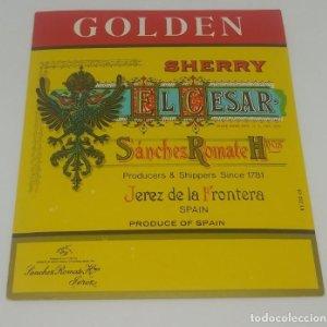 El Cesar. Golden Sherry. Sánchez Romate. Jerez de la frontera 12,8x11cm