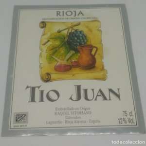Tio Juan. Rioja. Raquel Vitoriano. Laguardia. Rioja Alavesa. Etiqueta 12,5x10,5cm