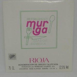 Murga. Restaurante, asador, sidreria. Heredad Ugarte. Laguardia. Rioja Alavesa. Etiqueta 10,4x10cm
