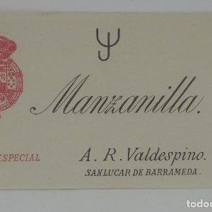 Manzanilla La Especial. A. R. Valdespino. Sanlucar de Barrameda. Etiqueta 12x7,4cm