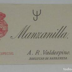 Etiquetas antiguas: MANZANILLA LA ESPECIAL. A. R. VALDESPINO. SANLUCAR DE BARRAMEDA. ETIQUETA 12X7,4CM. Lote 163033950