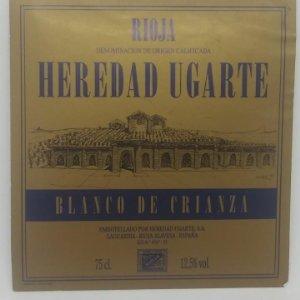 Heredad Ugarte. Blanco de crianza. Heredio Ugarte. Laguardia. Rioja Alavesa. Etiqueta 10,5x10cm