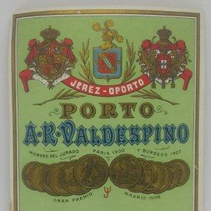 Jerez - Oporto. Porto. A. R. Valdespino. Etiqueta 12,7x10,7cm