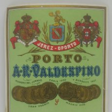 Etiquetas antiguas: JEREZ - OPORTO. PORTO. A. R. VALDESPINO. ETIQUETA 12,7X10,7CM. Lote 163035666