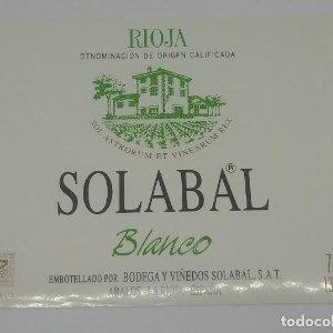 Solabal. Rioja blanco. Bodegas y Viñedos Solabal. Abalos. La Rioja. Etiqueta 11x9cm