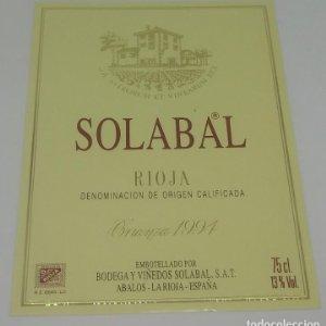 Solabal. Rioja Crianza 1994 Bodegas y Viñedos Solabal. Abalos. La Rioja. Etiqueta 13x10cm