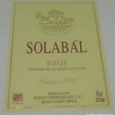 Etiquetas antiguas: SOLABAL. RIOJA CRIANZA 1994 BODEGAS Y VIÑEDOS SOLABAL. ABALOS. LA RIOJA. ETIQUETA 13X10CM. Lote 163037038