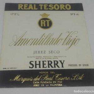 Real Tesoro. Amontillado Viejo. Marqués del real tesoro. Jerez de la frontera. Etiqueta 11,5x10,6cm