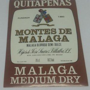 Quitapenas. Fuentes de Málaga. Hijos de Jose Suarez Villalba. Málaga Medium Dry. Etiqueta 13,3x9,5cm