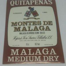 Etiquetas antiguas: QUITAPENAS. FUENTES DE MÁLAGA. HIJOS DE JOSE SUAREZ VILLALBA. MÁLAGA MEDIUM DRY. ETIQUETA 13,3X9,5CM. Lote 163038906