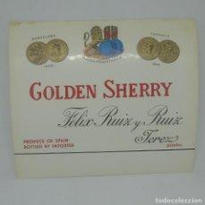 Etiquetas antiguas: GOLDEN SHERRY. FELIX RUIZ Y RUIZ, JEREZ. ETIQUETA 12,4X10,8CM. Lote 163039990