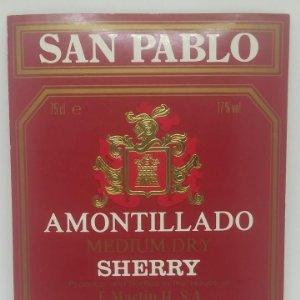 San Pablo. Amontillado Sherry. E. Martin. Jerez de la frontera. Etiqueta 12,5x10,5cm