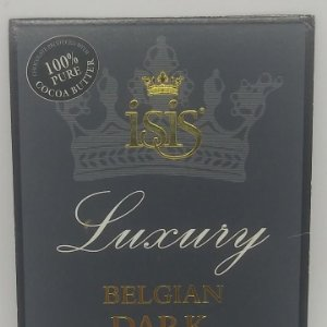 Isis. Luxury. Belgian Dark Chocolate. Etiqueta 11x8,4cm