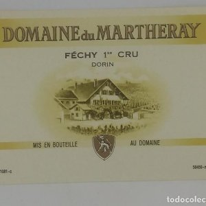 Domaine du Martheray. Féchy 1er Cru. Dorin. Etiqueta 8,7x6,8cm