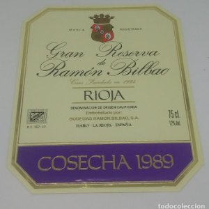 Gran reserva de Ramón Bilbao. Cosecha 1989. Haro. La Rioja. Etiqueta 13,5x11cm