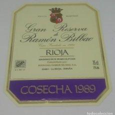 Etiquetas antiguas: GRAN RESERVA DE RAMÓN BILBAO. COSECHA 1989. HARO. LA RIOJA. ETIQUETA 13,5X11CM. Lote 163043742