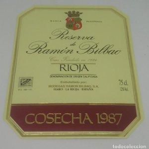 Gran reserva de Ramón Bilbao. Cosecha 1987. Haro. La Rioja. Etiqueta 13,5x11cm