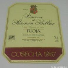 Etiquetas antiguas: GRAN RESERVA DE RAMÓN BILBAO. COSECHA 1987. HARO. LA RIOJA. ETIQUETA 13,5X11CM. Lote 163043802
