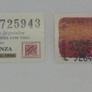 2 Etiquetas Rioja. Crianza 1996 Etiquetas de 6x2,2cm
