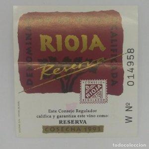 Reserva cosecha 1993 Rioja. Denominación de origen calificada. Etiqueta 6,5x6cm