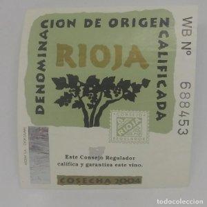 Cosecha 2004 Rioja. Denominación de origen calificada. Etiqueta 6,5x6cm