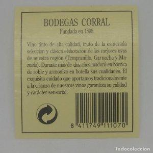 Bodegas Corral. Etiqueta 6,5x6cm