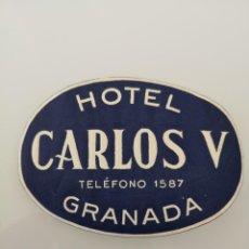 Etiquetas antiguas: ETIQUETA ANTIGUA DEL HOTEL CARLOS V DE GRANADA . Lote 163710582