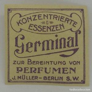 Etiqueta de perfume Germinal 4x4cm J. Muller - Berlin. Konzentrierte Essenzen