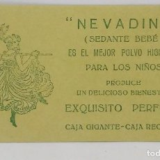 Etiquetas antiguas: NEVADINA. SEDANTE BEBÉ. POLVO HIGIÉNICO PARA LOS NIÑOS. EXQUISITO PERFUME. ETIQUETA 9,5X5,4CM. Lote 163845782