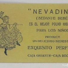 Etiquetas antiguas: NEVADINA. SEDANTE BEBÉ. POLVO HIGIÉNICO PARA LOS NIÑOS. EXQUISITO PERFUME. ETIQUETA 9,5X5,4CM. Lote 163845926